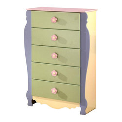 Signature Design by Ashley - Multicolor Kids 5 Drawer Chest w Profiled Fro - Color/Finish: Pastel. Soft pastel multi-colored green, lavender, pink, and yellow finish. Exaggerated traditional silhouette style for a fun look. Pink and yellow flower motif handles. Side roller glides for smooth operating drawers. 33 in. W x 16 in. D x 48 in. H