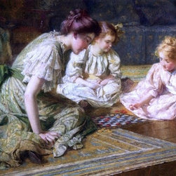 "Francis Coates Jones Mother and Daughters Playing Chess   Print - 16"" x 24"" Francis Coates Jones Mother and Daughters Playing Chess premium archival print reproduced to meet museum quality standards. Our museum quality archival prints are produced using high-precision print technology for a more accurate reproduction printed on high quality, heavyweight matte presentation paper with fade-resistant, archival inks. Our progressive business model allows us to offer works of art to you at the best wholesale pricing, significantly less than art gallery prices, affordable to all. This line of artwork is produced with extra white border space (if you choose to have it framed, for your framer to work with to frame properly or utilize a larger mat and/or frame).  We present a comprehensive collection of exceptional art reproductions byFrancis Coates Jones."