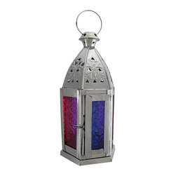 Zeckos - Moroccan Rainbow Glass and Chrome Candle Lantern 10 In. - Add colorful accent to tables in your home or on your porch or patio with this candle lantern. Made of metal, it measures 10 inches tall, has an 5 inch diameter, and it has a metal handle so you can hang it up. The lantern features 6 panes of textured, rainbow colored glass for a beautiful effect when lit. It can accommodate tealight candles or thin votive candles, as the door is only 1 1/2 inches wide. A fun alternative to traditional candles is battery powered LED candles with timers, for worry-free accent lighting. This lantern is a great addition to your home, and it makes a lovely gift.