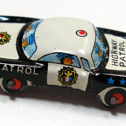 60s Tin Toy Police Car by Olde Tyme Notions - Here's a fun item I'm hoping to add to my son's playroom. I would love to start a collection of tin toy cars.