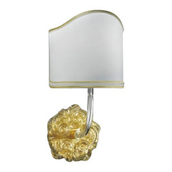 """ITALAMP - ITALAMP 664 Wall Lamp - The 664 Wall Lamp has been designed and made by Italamp. 664 Wall Light is a contemporary lamp made of glass, metal and fabric. This modern wall lamp is a beautiful addition in any kind of room, small or large, home, office or hotel settings. The 664 consists of a metal structure which sustains its body in transparent or gold colored glass with shiny gold finishes. The 664 lamp is available in one version with 1 light and beige colored shade option. The 664 Wall Lamp is dimmable and when is turned on the lamp diffuses a parade of light with bright personality. Illumination is provided by E12, 40W Halogen, or 8W Energy Saving, or 4W LED bulb (not included).      Product Details: The 664 Wall Lamp has been  designed  and made by Italamp. 664 Wall Light is a contemporary   lamp made of  glass, metal and fabric. This modern  wall lamp is a beautiful  addition in any kind of room, small or large, home, office or hotel settings. The  664 consists of a metal structure which sustains its body in transparent    or gold colored glass  with shiny gold finishes.  The 664 lamp is available in one version with  1 light and beige colored shade option. The 664 Wall Lamp is dimmable and when is turned on the lamp diffuses a parade of light with bright personality. Illumination is provided by  E12, 40W Halogen, or 8W Energy Saving, or 4W LED bulb (not included). Details:                         Manufacturer:            Italamp                            Designer:            Italamp                            Made in:            Italy                            Dimensions:                        Diameter: 7.1""""(18cm) X Height: 13.4""""(34cm) X Depth: 7.9""""(20.1cm)                                         Light bulb:                        E12, 1x40W Halogen / 1x8W Energy Saving / 1x4W LED bulb (not included)                                         Material:            Glass, Metal, Fabric"""