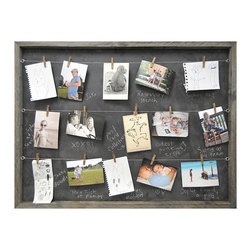 "Sugarboo Designs Chalkboard Memory Board - A mix of vintage and modern style, the Sugarboo Designs Memory Board is a playful way to display your most cherished memories. A chalkboard framed in vintage recycled wood comes ready to hang and includes a set of 25 antiqued clothespins. Measures 36"" x 26"". Made in USA."