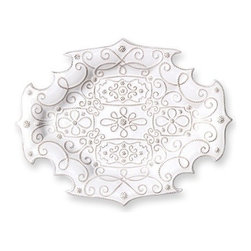 """Juliska - Juliska Jardins du Monde Medium Platter Whitewash - Juliska Jardins du Monde Md. Platter Whitewash.When only the best will do, serve your culinary triumphs upon this lavishly detailed platter. Elegant scrollwork is patterned after precisely ordered garden beds, flourishing with wild abandon. An ornate border is clipped like hedgerows for a bit of artistic interest. Ideal as a wedding gift or to keep at your own fingertips for entertaining. Dimensions: 12.5"""" W x 16.5"""" L"""