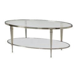 Hammary - Hammary Mallory Oval Glass Top Cocktail Table in Satin Nickel - Oval Glass Top Cocktail Table in Satin Nickel Belongs to Mallory Collection by Hammary
