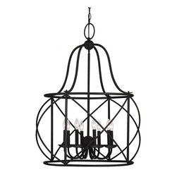Sea Gull Lighting - Sea Gull Lighting 5116408-839 Turbinio Traditional Foyer Light - Touched with a Mediterranean influence, the Turbinio Collection features a cage-within-a-cage design. The wrought iron finish and enclosed candelabras lend a rustic yet sophisticated feel.
