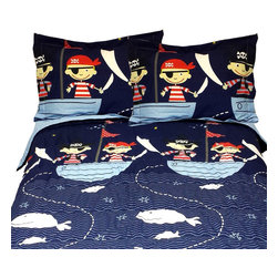 Store51 - Yo Ho Pirates Full Comforter Pillow Shams Set - Features:
