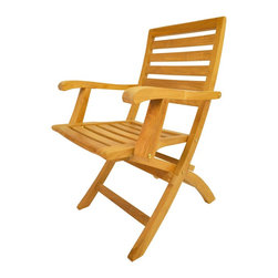 Anderson - Andrew Folding Armchair Set of 2 - The Andrew folding teak armchair is a very sturdy and versatile side chair made of Grade A teak wood.
