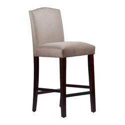 None - Made to Order Grey/ Espresso Nail Head Arched Bar Stool - This elegantly arched bar stool features a meticulous individual nail button detail. Upholstered in luxurious velvet fabric and delicately handcrafted in plush foam padding,this beautiful stool looks great in your kitchen,dining room,or bar.