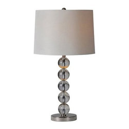 Ren-Wil Monaco LPT456 Table Lamp - 27H in. Satin Nickel - A stack of crystal clear orbs give the Ren-Wil Monaco LPT456 Table Lamp - 27H in. Satin Nickel its boudoir style. Modern and elegant, this lamp is features a satin nickel base and matching round finial. It's crowned by an off-white linen drum shade that diffuses light from its 100-watt bulb (bulb not included).