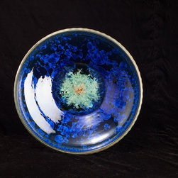 "Wallick Designs - 13"" diameter crystalline bowl with beautiful cobalt crystalline formations in the glaze.  Features Tom's signature ""prehistoric"" texture on the exterior of the bowl."