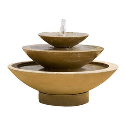 Campania - Cascade Outdoor Water Fountain - The Cascade Outdoor Fountain is sure to be the addition to your garden. Simple, yet magnificent the cascade fountain features water spouting out from the center of the top basin gracefully overflowing the top bowl into the second and then into the grand basin below. The fountain is produced in natural cast stone. Unless requested in natural color, the fountain is finished in one of unique patinas or acid stains. No two pieces will look exact alike and color may vary from picture shown. It is not a cause for return. Color shown (Travertine) is available upon request.
