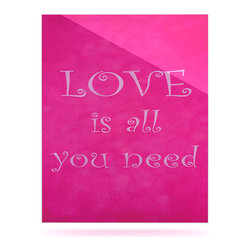 """Kess InHouse - Iris Lehnhardt """"Love is all you need"""" Quote Pink Metal Luxe Panel (16"""" x 20"""") - Our luxe KESS InHouse art panels are the perfect addition to your super fab living room, dining room, bedroom or bathroom. Heck, we have customers that have them in their sunrooms. These items are the art equivalent to flat screens. They offer a bright splash of color in a sleek and elegant way. They are available in square and rectangle sizes. Comes with a shadow mount for an even sleeker finish. By infusing the dyes of the artwork directly onto specially coated metal panels, the artwork is extremely durable and will showcase the exceptional detail. Use them together to make large art installations or showcase them individually. Our KESS InHouse Art Panels will jump off your walls. We can't wait to see what our interior design savvy clients will come up with next."""