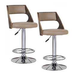 Leick Furniture - Leick Furniture Adjustable Height Swivel Stool in Mocha  (Set of 2) - Leick Furniture - Bar Stools - 10040 - The Leick Saddle Bentback Adjustable Height Swivel Stool with Moch Highlights comes in a set of 2 and offers a heavy duty cylinder for smooth reliable height adjustment. Choose a seat height for counter height bar height or anything in between. Full swivel seats and sturdy footrests deliver comfort in this bold chrome and faux leather beauty. Constructed of steel and durable plywood with a padded seat for comfort.