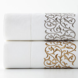 Horchow - Queen Jasmine Sheet Set - WHITE/GOLD (QUEEN) - Queen Jasmine Sheet Set