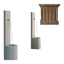 Campania International - Echo Fountain - Aged Limestone (AL) - Is traffic noise keeping you awake? Are the neighbors just a little too close for comfort? Install this echo fountain outside your bedroom window or patio wall and fall asleep to the gentle sound of burbling water.