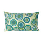 """Trans-Ocean Inc - Puddle Dot Spa 12"""" x 20"""" Indoor Outdoor Pillow - The highly detailed painterly effect is achieved by Liora Mannes patented Lamontage process which combines hand crafted art with cutting edge technology. These pillows are made with 100% polyester microfiber for an extra soft hand, and a 100% Polyester Insert. Liora Manne's pillows are suitable for Indoors or Outdoors, are antimicrobial, have a removable cover with a zipper closure for easy-care, and are handwashable.; Material: 100% Polyester; Primary Color: Green;  Secondary Colors: blue, white; Pattern: Puddle Dot; Dimensions: 20 inches length x 12 inches width; Construction: Hand Made; Care Instructions: Hand wash with mild detergent. Air dry flat. Do not use a hard bristle brush."""