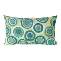 "Trans-Ocean Inc - Puddle Dot Spa 12"" x 20"" Indoor Outdoor Pillow - The highly detailed painterly effect is achieved by Liora Mannes patented Lamontage process which combines hand crafted art with cutting edge technology. These pillows are made with 100% polyester microfiber for an extra soft hand, and a 100% Polyester Insert. Liora Manne's pillows are suitable for Indoors or Outdoors, are antimicrobial, have a removable cover with a zipper closure for easy-care, and are handwashable.; Material: 100% Polyester; Primary Color: Green;  Secondary Colors: blue, white; Pattern: Puddle Dot; Dimensions: 20 inches length x 12 inches width; Construction: Hand Made; Care Instructions: Hand wash with mild detergent. Air dry flat. Do not use a hard bristle brush."