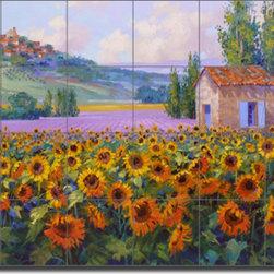 """Artwork On Tile - Senkarik Tuscan Sunflowers Ceramic Tile Mural Backsplash 25.5"""" x 17"""" - MSA125 - * 25.5"""" w x 17"""" h x .25"""" Ceramic Tile Mural on Architectural Grade, 4.25"""" Tile w/Satin Finish"""