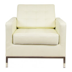 IFN Modern - Florence Knoll Style Armchair-Ivory - 100% Italian Leather - Florence Knoll, an acclaimed architect and designer, first conceived this beautiful chair in 1956. Knoll's philosophy for furniture design comes from the value that she placed on practicality and aesthetic beauty. The pieces resulting from her philosophical vision are considered to be minimalistically beautiful without compromising on durability and comfort. Knoll designed the luxuriously classic Florence Knoll chair using a durable stainless steel frame which contained minimal materials. The chair features beautiful cubic cushions complimented with compressed buttons in a functional layout which provides both style and comfort to the thin, minimalist supporting arms. The Knoll Chair is highly desired as it's minimal yet practical design can adapt perfectly into today's modern home or space. â— Product is upholstered in 100% Full Grain Italian Leatherâ— High Polished Solid Stainless Steel base frame ensures no chipping or rustingâ— Traditional hardwood box frame constructionâ— Reinforced bottom seat cushion platform for firm long lasting comfortâ— Corner Solid Stainless Steel base joints are fully welded, grind, sealed and sandedâ— High-density resilient seat and back foam wrapped in silk layer provide comfort and cushion structure memoryâ— Cushions CA-117 fire retardant compliantâ— Removable back and seat cushions.â— Complete with floor protection pad caps on legs