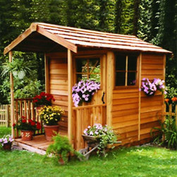 Cedar Shed - Cedar Shed 6 x 9 ft. Gardeners Delight Potting Shed Multicolor - GD69 - Shop for Sheds and Storage from Hayneedle.com! Additional features: Complete with one year limited manufacturer's warranty Interior measures 5.75W x 6.2D x 7.3H ft. 2 push-out windows can be installed on any wall Fixed window on door measures 24 x 26 inches Sliding door measures 2.5W x 6H ft. Includes window planter box 3-foot wide porch and floor Assembly is easy with all necessary tools even the bit included Wood arrives pre-cut and ready to build Cedar features natural oils that preserve wood and resist insect damage For a quiet place to call your own the Cedar Shed 6 x 9 ft. Gardeners Delight Potting Shed has you covered. Now you can retreat to your very own backyard for a respite from your busy routine. Beautiful simple just how life should be. Configure the two windows on any wall to customize your shed to your needs. Ships will all the necessary tools for easy comprehensive assembly.For your convenience liftgate service is included with this purchase. This means that upon delivery the carrier will use a liftgate on the truck to lower your item to the ground. You will then need a dolly or handtruck or assistance with the product from that point on. Many retailers charge for this service of getting the package off the truck or require the customer to do it themselves.About Cedar Shed IndustriesSince 1980 Cedar Shed has grown to be one of the largest specialty cedar product manufacturers in the world. They offer top quality products like gazebos sheds and outdoor furniture all made from high-quality Western Red Cedar. Over the years Cedar Shed has grown developed and matured to the point where they are now shipping thousands of gazebos and garden sheds every year to customers around the world. Why Western Red Cedar?The supremacy of Western Red Cedar as an all-weather building material is entirely natural. Along with its beauty stability and endurance Western Red Cedar contains n