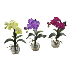 "Nearly Natural - 3-Pc Vanda Orchid Vase Arrangement Set - Includes yellow, purple, beauty orchid, faux water and decorative vase. Ideal for home or office. Made from silk. Vase: 3.5 in. L x 3.5 in. W x 3.25 in. H. Overall: 10.5 in. L x 5 in. W x 15 in. HThe mini Vanda Orchid is colorful, rare, intricate, delicate, unique, timeless...Oh goodness do we love Orchids. Colorful, rare, intricate, delicate, unique, timeless... these are words that many use to describe this incredible flower. This ""triple your decorating beauty"" set is ideal for home, office, or even a thoughtful gift."
