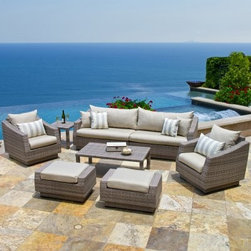 RST Outdoor Cannes Slate 8 Piece Sofa Conversation Set - Invite your friends over for a game night and some great conversation while you all relax outdoors on the gorgeous RST Outdoor Cannes Slate 8 Piece Sofa Conversation Set. Beautifully designed, this sophisticated set is crafted from gorgeous, hand-woven polyethylene (PE) wicker over a strong, lightweight, and rust-resistant aluminum frame in a rich, powder coated bronze color. Its elegant grey wicker is perfectly accented by the soft and comfortable Sunsharp Slate Grey cushions. Made from breathable fabric that is easy to clean, these cushions are made to dry quickly to help avoid mildewing. UV-, fade-, and weather-resistant, this set holds up great in salty and chlorinated environments, making it ideal for pool and seaside relaxing. PE wicker is cool to the touch, even in hot weather, making it a comfortable place to relax at anytime of the day. Made from 100% recyclable material, this set will beckon you outdoors to enjoy your first cup of coffee while watching the sun rise or call you to a quiet retreat away from the business of life. Additional Features Ottomans: 31W x 20D x 17H in. Chairs: 31W x 33D x 31H in. Sofa sections: 49W x 33D x 31H in. (ea)Side table: 20L x 20W x 19H in. Coffee Table: 46L x 26W x 16H in. Comfortable cushions in Soothing Bliss Blue Sunsharp outdoor cushions are fade resistant Cushions are soft and comfortable Fabric dries quickly to avoid mildewing Fabric is easily removed for washing Furniture is crafted from 100% recyclable material PE wicker is cool to the touch even in hot weather Powder coated, textured, bronze-colored frame Seating pieces arrive fully assembled Some assembly required for the tables About Red Star TradersSince 2004, Red Star Traders LLC (made up of RST Outdoor, RST Living and FlowWall System) has designed and manufactured products in the outdoor living, home decor and wall-based organizational products categories. Red Star is a direct import, product marketing company. Red Star categories of focus include jewelry boxes, men's gifts & furnishings, and RTA furniture. Their team of marketing and design professionals can help identify market trends and deliver products that meet target retails with maximum perceived value. Red Star's network of manufacturing partners and overseas production managers insure integrity in production and strict quality control.