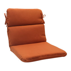 Pillow Perfect - Pillow Perfect Burnt Orange Outdoor Cinnabar Rounded Chair Cushion - Add a touch of comfort and style to your outdoor furnishings with this Pillow Perfect Outdoor Cinnabar Rounded Chair Cushion. This durable,outdoor pillow is super soft to the touch due to it's plush polyester filling.