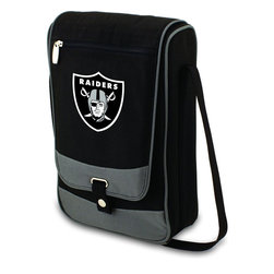 """Picnic Time - Oakland Raiders Barossa Wine Tote in Black - The Barossa is so sleek and sophisticated, you'll want to take it with you every chance you get. It's made of 600D polyester and features an adjustable shoulder strap that makes it easy to carry and a flat zippered pocket on the exterior flap. The Barossa is fully insulated to keep your wine the perfect temperature and has a divided interior compartment to separate your bottle of wine from the 2 (8 oz.) acrylic wine glasses included. Also included are: 1 stainless steel waiter style corkscrew, 1 bottle stopper (nickel-plated), and 2 napkins (100% cotton, 14 x 14"""", Black with silver pinstripe). The Barossa wine tote is perfect for picnics, concerts, or travel and makes a wonderful gift for those who enjoy wine.; Decoration: Digital Print; Includes: 17 stainless steel waiter style corkscrew, 1 bottle stopper (nickel-plated), and 2 napkins (100% cotton, 14 x 14"""", Black with silver pinstripe)"""