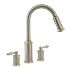 Moen - Moen Aberdeen Pull Out Two-Handle Kitchen Faucet - The Aberdeen two-handle kitchen faucet will add classic style and easy functionality to your kitchen. It has a handsome finish and a one-of-a-kind pause button that allows the user to conveniently interrupt water flow.