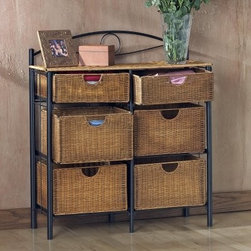 SEI 6-Drawer Wicker Storage Chest - The SEI 6-Drawer Wicker Storage Chest has ample storage space with its six large and deep wicker drawers. Decorative enough to use in any room kitchen bathroom spareroom or utility room it has endless uses. The metal frame of the chest complements the wicker beautifully culminating in a scroll design just above the top shelf. The large drawers slide easily on the black metal tracks and their varying sizes will accommodate an array of uses. The large wicker top can be used as a vanity or a display space for a knick-knack or plant kitchen or bath items. The chest rests on feet so it is easy to clean underneath. Overall dimensions: 34W x 13D x 38.5H inches.