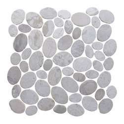 Pebble Tile - Coin Mosaic Tile, White, 12 in. X 12 in. - The coins mosaic tile are made up of stones that are carefully cut and laid on mesh to create a 12x12 in. interlocking square. Each stone is a varying oval shape to create a pebble like appearance with a uniformed look. The coins mosaic tile is our most unique product and allow for a seamless attractive finish to any project. The versatility of this product is endless and with the variety of the shades and blends within the group you can create a wonderfully unique addition to your home, office or exterior area.