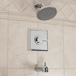 Flair Pressure Balance Tub and Shower Set With Lever Handle - Create an instant update to any bathroom with the modern Flair Pressure Balance Tub and Shower Faucet. Enjoy a rainfall like shower experience and easily control water flow and temperature through its single lever handle