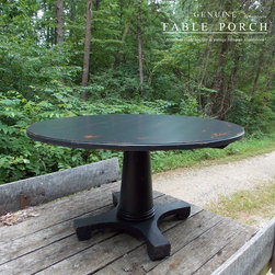 """Country & Cottage Farmhouse Dining Tables - Our Empire pedestal dining table is 54"""" round and features a 1.50"""" thick table top, with a SOLID hand turned pedestal. This gem is finished in Midnight-Vintage with Summer distressing. Custom finishes and sizes are available."""