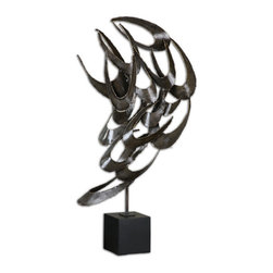 Uttermost - Daja Abstract Sculpture - This abstract piece of artwork is made of cut metal finished in antiqued silver with a black base.