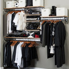 Arrange A Space - Closet System in Maple Finish (80 in. W x 11. - Choose Size: 80 in. W x 11.75 in. D x 84 in. H (93 lbs.)Includes hardware. Anodized aluminum rail. Rail mounts easily onto the wall. Easy to installs into wood studs. 0.75 in. shelf thickness with industrial grade particle board. Commercial grade steel tubing hang rod in polished chrome. Made from fine wood grain melamine and metal. Height adjusts from 80 in. to 84 in.Arrange a Space's patented closet systems provide you with a unique and innovative solution for all of your space and storage needs. Created as a more flexible and versatile option for closets and storage areas than the common white wire or wood shelf, rod systems of the past.