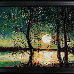overstockArt.com - Kopania - Moon Oil Painting - Moon is a beautiful image of a night time landscape with only the glow of the moon for light. Enjoy its beauty and color reproduced as a fine canvas hand painting. Justyna Kopania is from Warszawa, Poland. In her words when she paints she tries to show the 'world', which could be seen by looking at reality that surrounds us, from another perspective, unusual, remote, sometimes through the eyes of the child, sometimes music, composer, or someone who looks lichen on the sea, the moon , the sky and the stars ..., the river ... looks out the window and looks out into the street. Walking down the street looking at people's faces. In rain, snow or fog. Perhaps the world that surrounds us really is quite different than we perceive it every day.