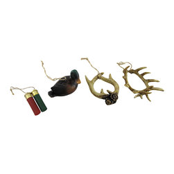 Zeckos - Hunting Themed Duck, Antlers and Shells Ornaments Set of 4 - Support the enthusiasm of any hunter in your life with this decorative set of 4 hunting inspired ornaments featuring a set of elk and deer antlers, a wood look duck decoy and two 12 gauge shotgun shells. Expertly cast in resin with natural rope hangers, this set of 4 ornaments would look great decorating a Christmas tree, hanging from a cabinet, a door handle or anywhere you want to add a touch of outdoor charm. Each piece measures approximately 2 1/4 to 4 inches long and 1 1/4 to 3 inches wide, and make an excellent gift any outdoor enthusiast is sure to admire