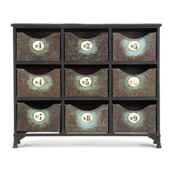 Kathy Kuo Home - Reclaimed Industrial Iron 9 Drawer Storage Cabinet - With this industrial nine-drawer storage cabinet, you'll never again need to ransack your home searching for your keys or phone. Nine removable metal drawers are labeled in numerical order so you can keep track of just about anything. The distressed metal finishing of this piece gives it a tough, vintage feel and make it the perfect addition to your urban loft or contemporary living space.
