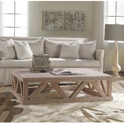 """Rectangular Rustic Architectural Coffee Table - This rustic cocktail table is made from weathered solids.  It measures 54.75""""W x 15""""H x 42.5""""D.  Product in photo is from www.wellappointedhouse.com"""