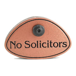 """Atlas Signs and Plaques - No Solicitors Dammit!, Copper, Recessed - This little sign packs a big punch!  Available in 9 different finishes, so there's sure to be one to match your exterior.  Size is about 3"""" x 3"""" x 1"""" thick and comes with a matching t-30 screw to make hanging a breeze."""