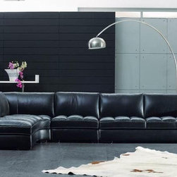 Elegant Tufted Full Leather Corner Couch - Dimensions:
