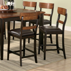 "Wildon Home � - Adams Counter Height Stool (Set of 2) - Offered in a two tone oak and brown finish, this beautiful counter height dining table and chair set will add a sophisticated style to your casual dining or entertainment space. The smooth table top has rounded edges and Features a convenient leaf so the length can be extended from 36"" to 54"", allowing you to easily accommodate guests. Turned tapered legs are fresh but timeless, giving this table a transitional style that will blend nicely into any home. The matching stool feature updated back slats with brown vinyl seating for supreme comfort. Features: -Adams collection. -Finish: Oak / Brown. -Slats with brown vinyl seating. -Tapered legs with box stretcher. -Casual style. Dimensions: -Seat Height: 26"". -Seat Depth: 16"". -Overall Dimensions: 41.5"" H x 20.5"" W x 19.25"" D."