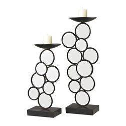 Sterling Industries - Sterling Industries 129-1057 Set of 2 Iron & Mirror Candle Holders - Specifications: