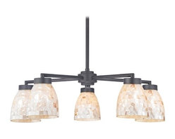 Design Classics Lighting - Chandelier with Mosaic Glass in Black Finish - Five Lights - 590-07 GL1026MB - Country / cottage matte black 5-light chandelier with modern bell glass shades. Includes one 6-inch and three 12-inch down rods that allow this chandelier to hang at a minimum height of 17-1/8-inches up to a maximum of 53-1/8-inches. Takes (5) 100-watt incandescent A19 bulb(s). Bulb(s) sold separately. UL listed. Dry location rated.