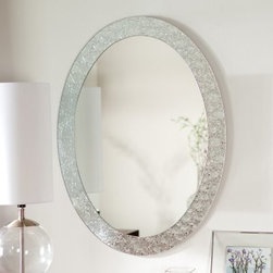 Frameless Crystal Wall Mirror - 23.5W x 31.5H in. - The Frameless Crystal Wall Mirror glows with elegance that will blend beautifully with any decor. This wonderful oval mirror adds a vibrant element to any wall. Constructed of metal and strong 3/16 glass this mirror features a border of metal encased in glass created with a fine precise manufacturing process. The process creates a textured crystal look that is simply divine. Mounting hardware is included with the mirror. Weighs 22 pounds. Dimensions: 31.5L x 23.5W x .5D inches.