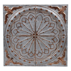 """Courtland Tin Wall Plaque - 24""""x24"""" - This medium size plaque adds visual strength and drama to your walls decor. Sold individually, they are lovely hanging alone they but also work well for large spaces when grouped in differing patterns or finishes. Inspired by the artistic look of old-fashioned tin ceiling tiles, these pressed tin plaques are sure to be a focal point wherever they're displayed. Each plaque is crafted of real tin, and finished in your choice form a variety of available finishes. Use alone or in a gang of 4 for larger spaces."""