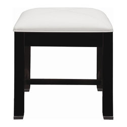 Decolav - Cameron 18.875 in. Vanity Stool in Espresso - Manufacturer SKU: 5229-ESP. Part of the Cameron modular collection. Solid wood legs and frame. Features faux leather saddle and stitched cushion. Brushed stainless steel toe caps. Designed to accompany the 5226 vanity drawer. 18.875 in. L x 18.875 in. W x 18.5 in. HDECOLAV's Cameron Vanity Stool has solid wood frame and legs. Features faux leather saddle stitched cushion and is available in espresso or white finish. Designed to accompany the 5226 vanity drawer. The strong, clean lines of the Cameron Collection creates a striking statement that is sure to win you over. Its bold presence, with understanding detailing provides the perfect compliment to your modern-contemporary bathroom design.