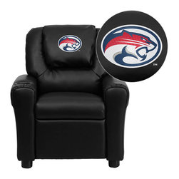 """Flash Furniture - Houston Cougars Black Leather Kids Recliner with Cup Holder and Headrest - Get young kids in the college spirit with this embroidered college recliner. Kids will now be able to enjoy the comfort that adults experience with a comfortable recliner that was made just for them! This chair features a strong wood frame with soft foam and then enveloped in durable leather upholstery for your active child. This petite sized recliner is highlighted with a cup holder in the arm to rest their drink during their favorite show or while reading a book. University of Houston Embroidered Kids Recliner; Embroidered Applique on Oversized Headrest; Overstuffed Padding for Comfort; Easy to Clean Upholstery with Damp Cloth; Cup Holder in armrest; Solid Hardwood Frame; Raised Black Plastic Feet; Intended use for Children Ages 3-9; 90 lb. Weight Limit; CA117 Fire Retardant Foam; Black LeatherSoft Upholstery; LeatherSoft is leather and polyurethane for added Softness and Durability; Safety Feature: Will not recline unless child is in seated position and pulls ottoman 1"""" out and then reclines; Safety Feature: Will not recline unless child is in seated position and pulls ottoman 1"""" out and then reclines; Overall dimensions: 24""""W x 21.5"""" - 36.5""""D x 27""""H"""