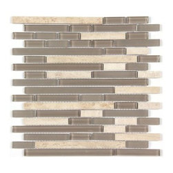 Stone & Co - All Marble Mosaic Glass and Stone blend Random Strip 12 x 12 Mosaic Tile Mag-444 - All Marble Mosaic Glass and Stone blend Random Strip 12 x 12 Mosaic Tile Mag-4443-ST