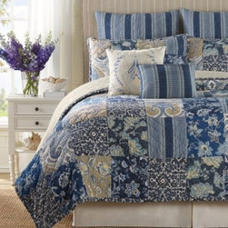 B. Smith - B. Smith Block Island Quilt Pillow Sham - Dress your bed with the B. Smith Block Island Quilt Pillow Sham for a sophisticated look. With a mixture of different blues, khaki, and tans, the cotton sham is the perfect finishing touch for a refined and elegant bedroom.